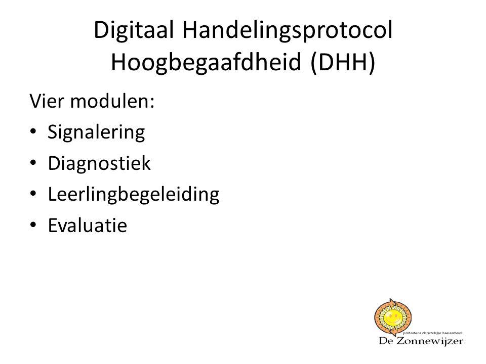 Digitaal Handelingsprotocol Hoogbegaafdheid (DHH) Vier modulen: • Signalering • Diagnostiek • Leerlingbegeleiding • Evaluatie