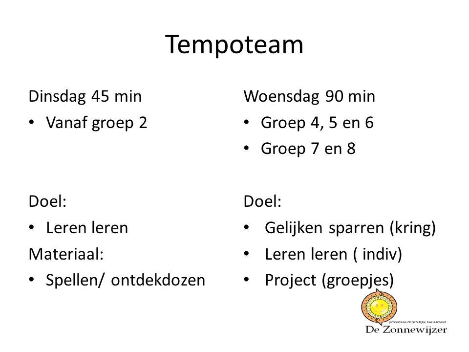 Tempoteam Dinsdag 45 min • Vanaf groep 2 Doel: • Leren leren Materiaal: • Spellen/ ontdekdozen Woensdag 90 min • Groep 4, 5 en 6 • Groep 7 en 8 Doel: