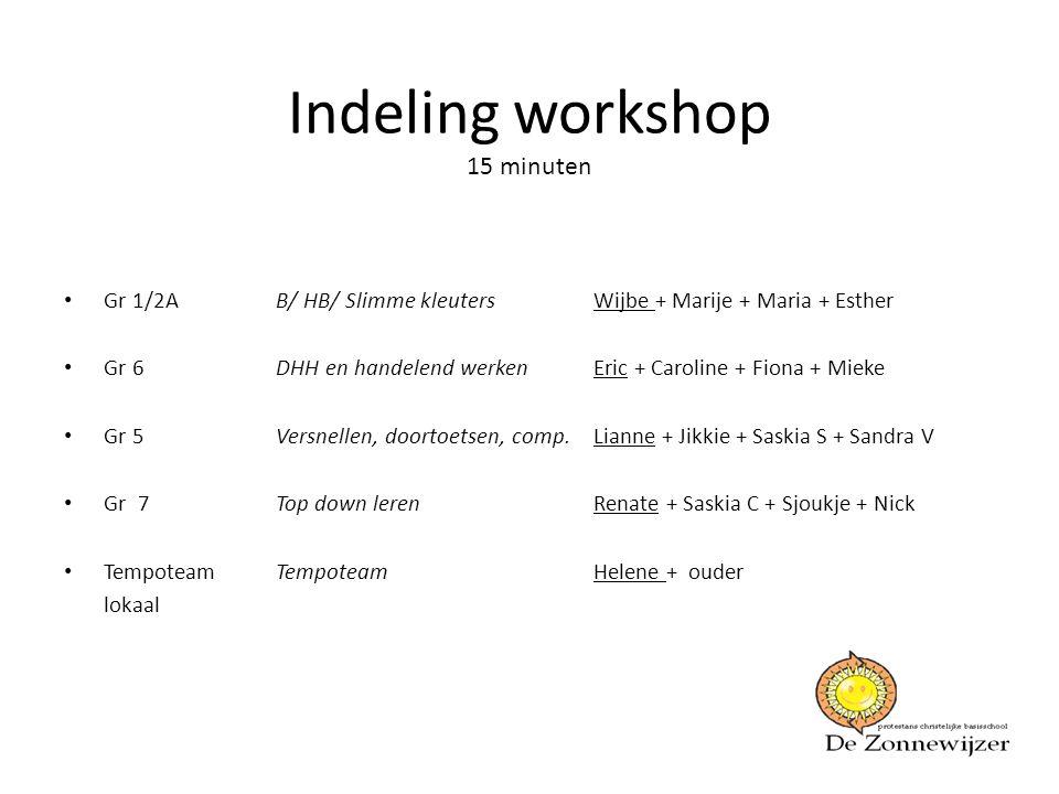 Indeling workshop 15 minuten • Gr 1/2A B/ HB/ Slimme kleutersWijbe + Marije + Maria + Esther • Gr 6DHH en handelend werkenEric + Caroline + Fiona + Mi