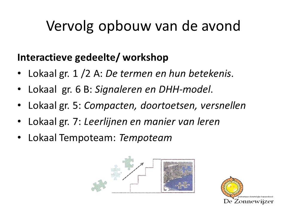 Vervolg opbouw van de avond Interactieve gedeelte/ workshop • Lokaal gr. 1 /2 A: De termen en hun betekenis. • Lokaal gr. 6 B: Signaleren en DHH-model