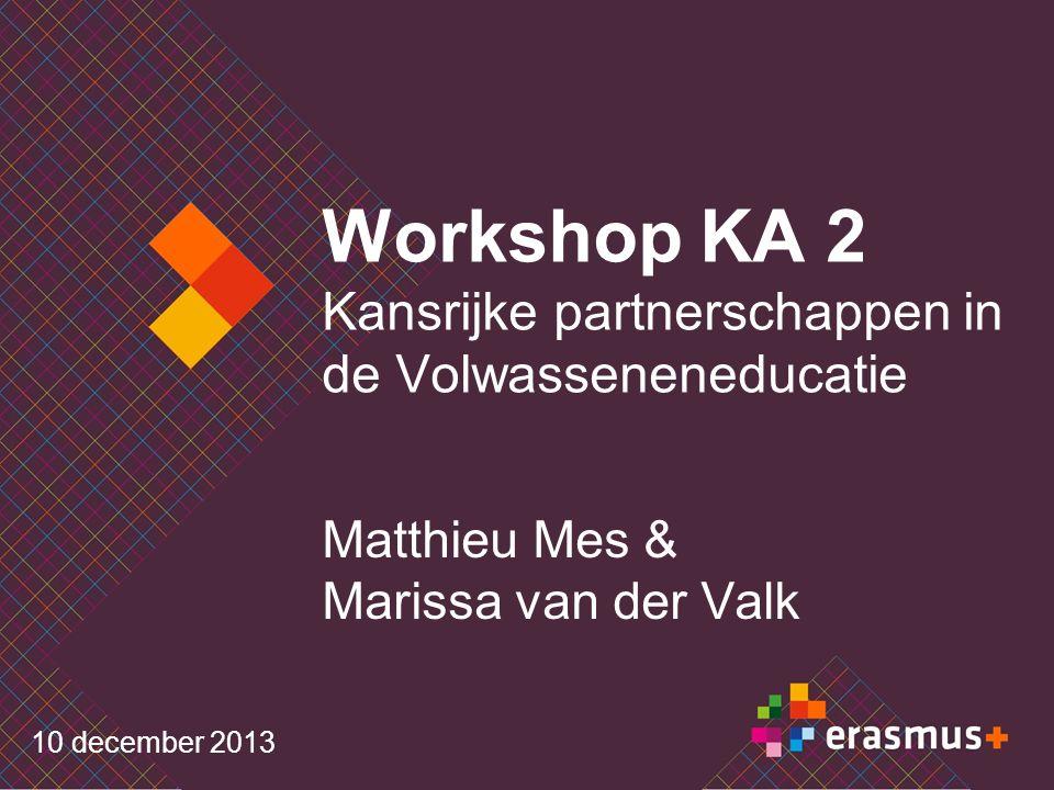 Workshop KA 2 Kansrijke partnerschappen in de Volwasseneneducatie Matthieu Mes & Marissa van der Valk 10 december 2013