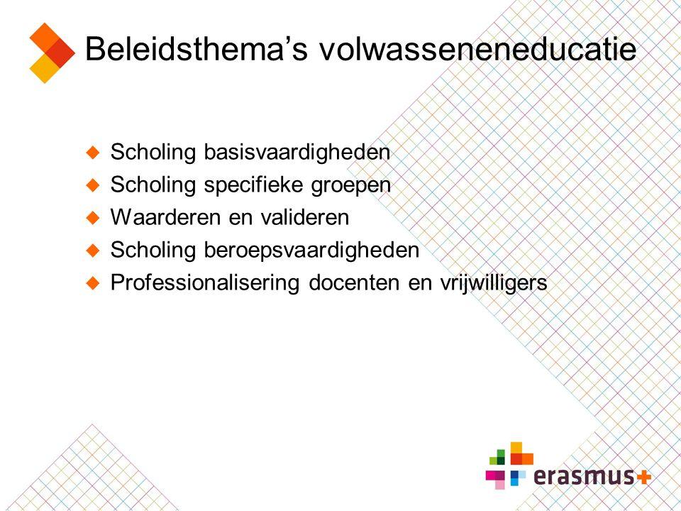 Beleidsthema's volwasseneneducatie  Scholing basisvaardigheden  Scholing specifieke groepen  Waarderen en valideren  Scholing beroepsvaardigheden