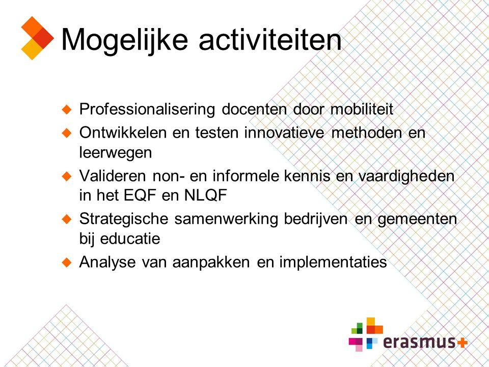 Mogelijke activiteiten  Professionalisering docenten door mobiliteit  Ontwikkelen en testen innovatieve methoden en leerwegen  Valideren non- en in