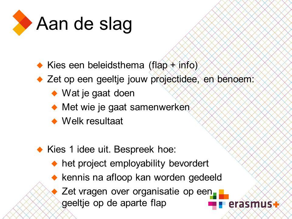 Aan de slag  Kies een beleidsthema (flap + info)  Zet op een geeltje jouw projectidee, en benoem:  Wat je gaat doen  Met wie je gaat samenwerken 