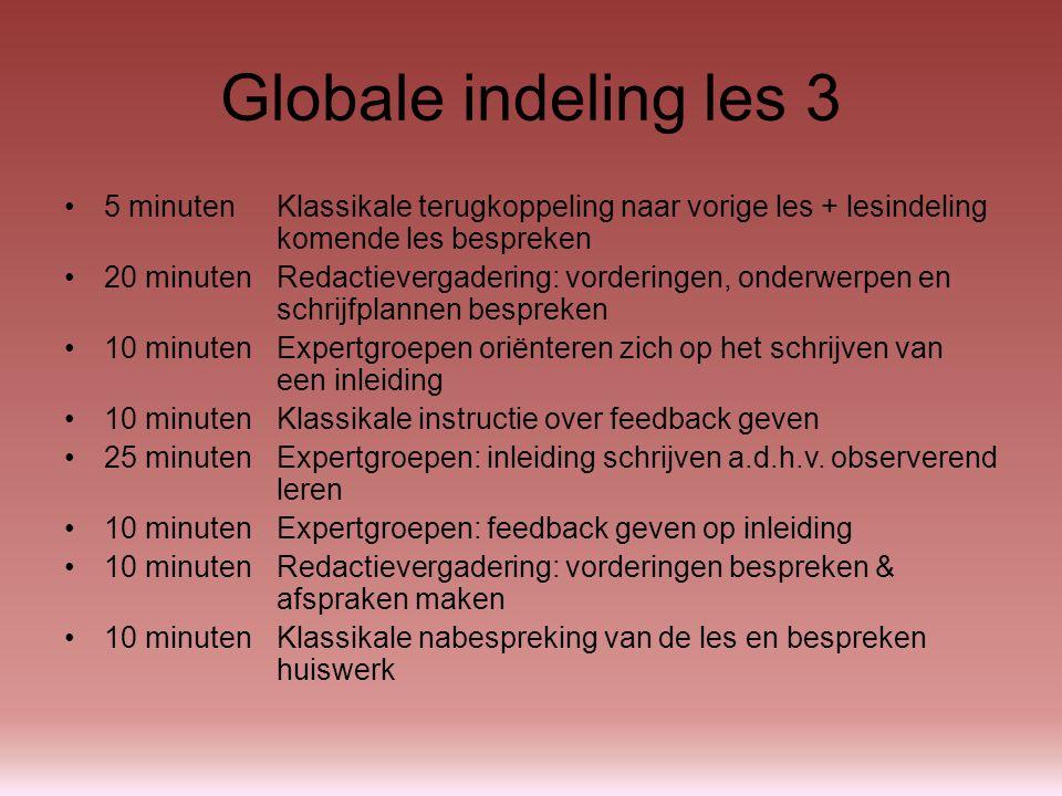5 minutenKlassikale terugkoppeling naar vorige les + lesindeling komende les bespreken Vragen / onduidelijkheden over les 2 of deze les?