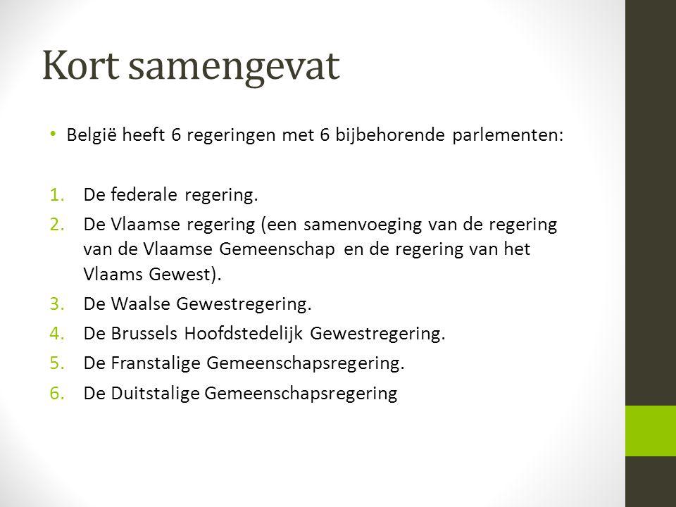 Kort samengevat • België heeft 6 regeringen met 6 bijbehorende parlementen: 1.De federale regering. 2.De Vlaamse regering (een samenvoeging van de reg