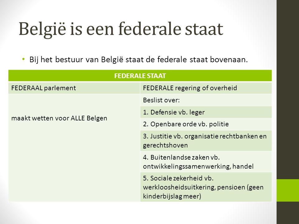 België is een federale staat • Bij het bestuur van België staat de federale staat bovenaan. FEDERALE STAAT FEDERAAL parlementFEDERALE regering of over