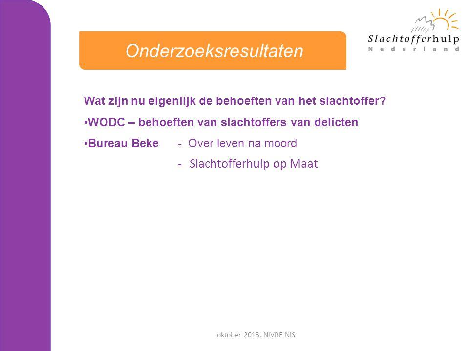 oktober 2013, NIVRE NIS Wat zijn nu eigenlijk de behoeften van het slachtoffer? •WODC – behoeften van slachtoffers van delicten •Bureau Beke - Over le