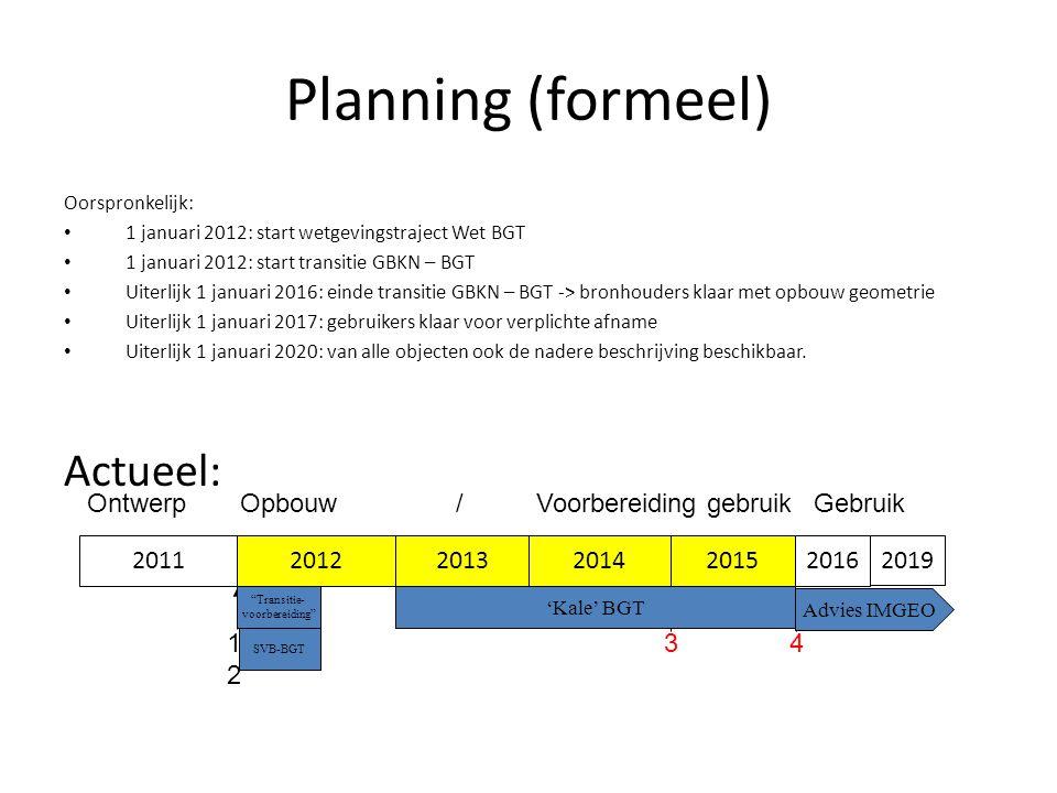 Planning (formeel) Oorspronkelijk: • 1 januari 2012: start wetgevingstraject Wet BGT • 1 januari 2012: start transitie GBKN – BGT • Uiterlijk 1 januar