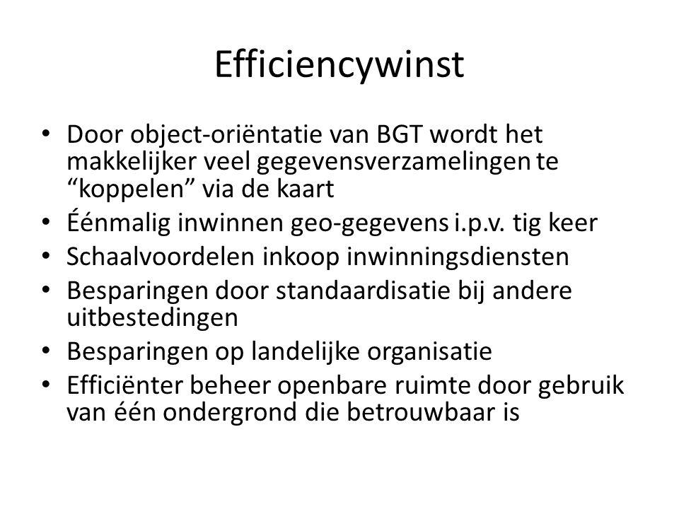 """Efficiencywinst • Door object-oriëntatie van BGT wordt het makkelijker veel gegevensverzamelingen te """"koppelen"""" via de kaart • Éénmalig inwinnen geo-g"""