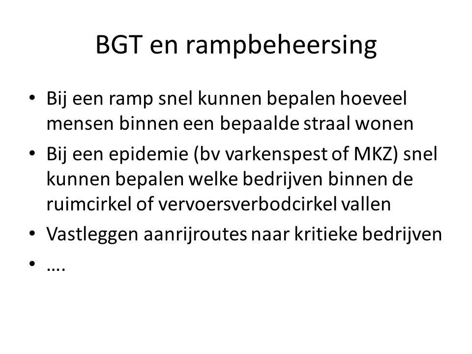 BGT en rampbeheersing • Bij een ramp snel kunnen bepalen hoeveel mensen binnen een bepaalde straal wonen • Bij een epidemie (bv varkenspest of MKZ) sn