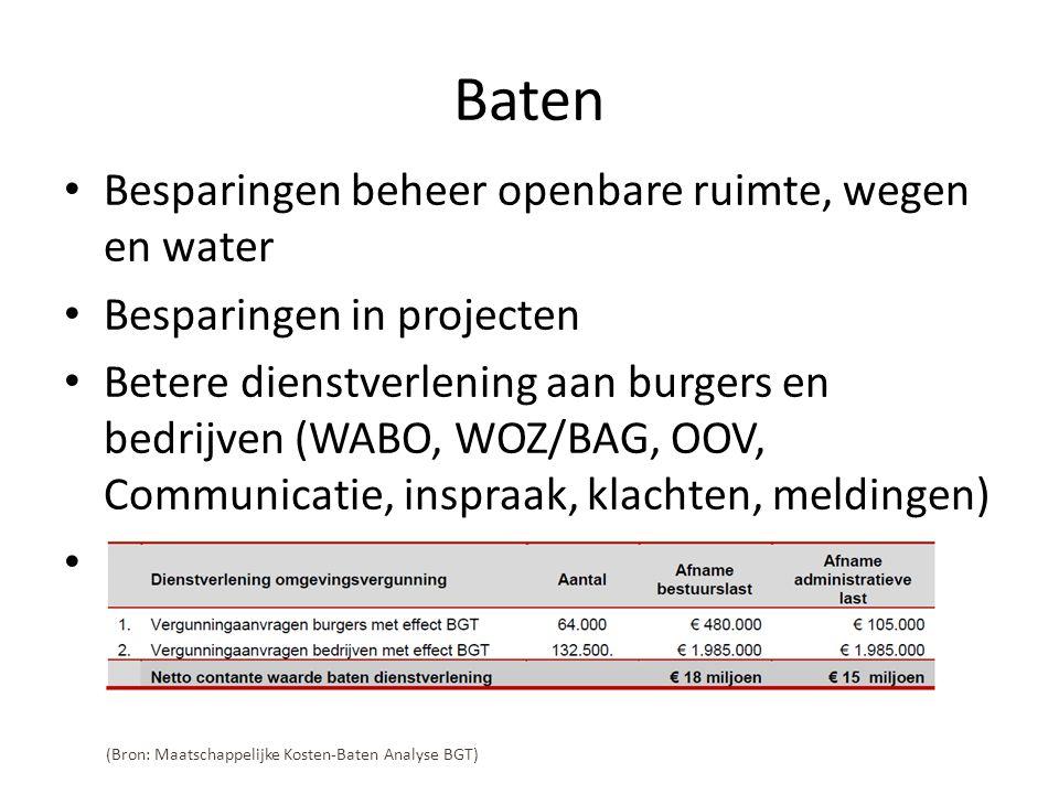 Baten • Besparingen beheer openbare ruimte, wegen en water • Besparingen in projecten • Betere dienstverlening aan burgers en bedrijven (WABO, WOZ/BAG