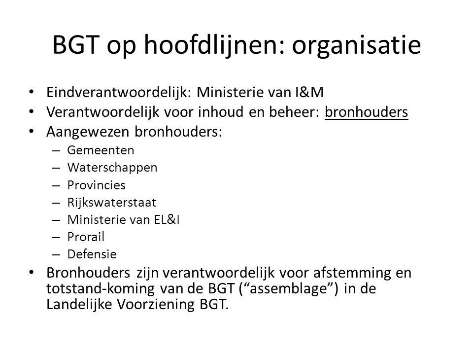 BGT op hoofdlijnen: organisatie • Eindverantwoordelijk: Ministerie van I&M • Verantwoordelijk voor inhoud en beheer: bronhouders • Aangewezen bronhoud