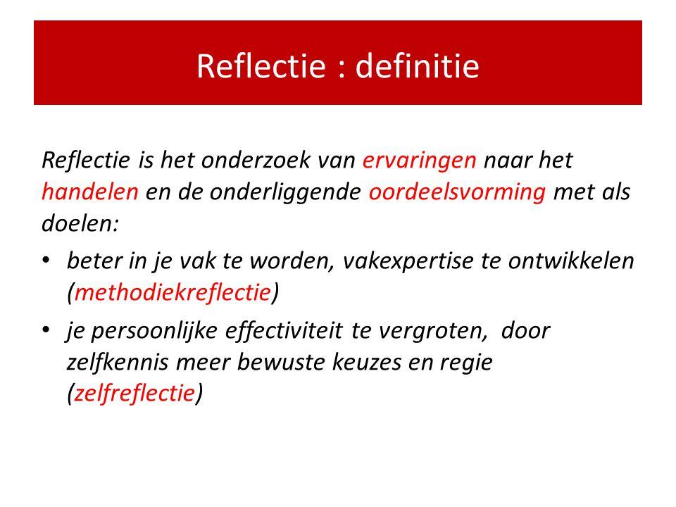 Hoe wordt reflectie zinvol en spannend ? • Helderheid over (deel)activiteiten, resultaten en criteria, uitgewerkte voorbeelden van reflectie • Beteken