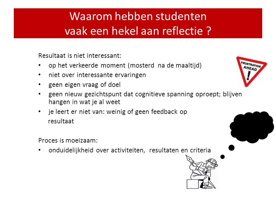 • Veel studenten hebben een hekel aan reflectie en leren er weinig of niets van • Portfolio's docenten: reflectie niet veel beter dan bij studenten •