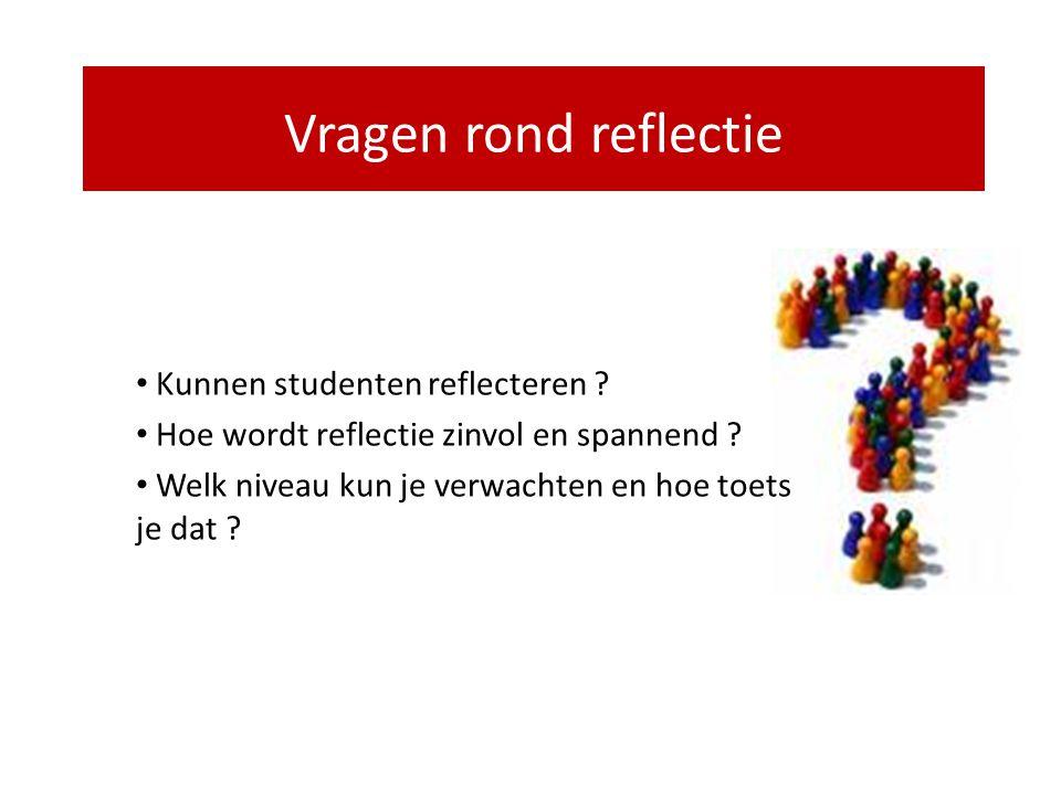 Waarom hebben studenten vaak een hekel aan reflectie ? Resultaat is niet interessant: • op het verkeerde moment (mosterd na de maaltijd) • niet over i