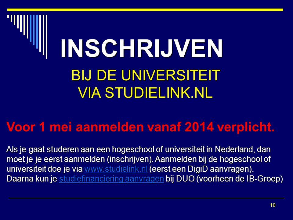 10 INSCHRIJVEN BIJ DE UNIVERSITEIT VIA STUDIELINK.NL Voor 1 mei aanmelden vanaf 2014 verplicht. Als je gaat studeren aan een hogeschool of universitei
