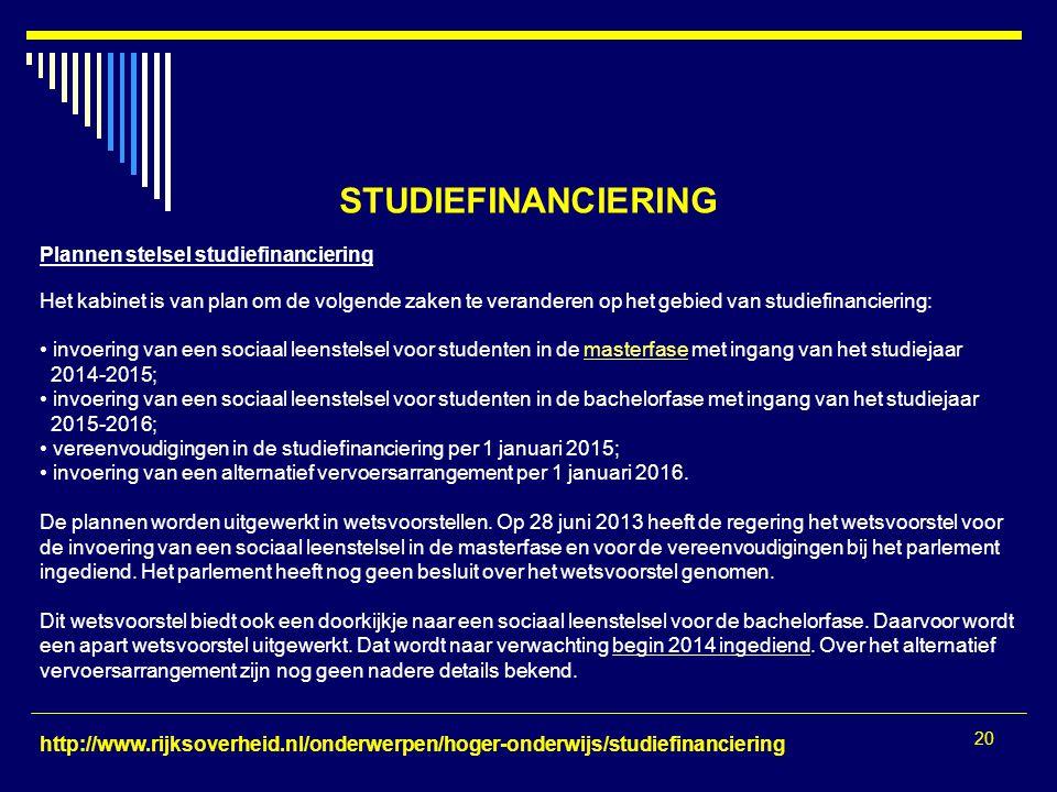 20 STUDIEFINANCIERING Plannen stelsel studiefinanciering Het kabinet is van plan om de volgende zaken te veranderen op het gebied van studiefinancieri