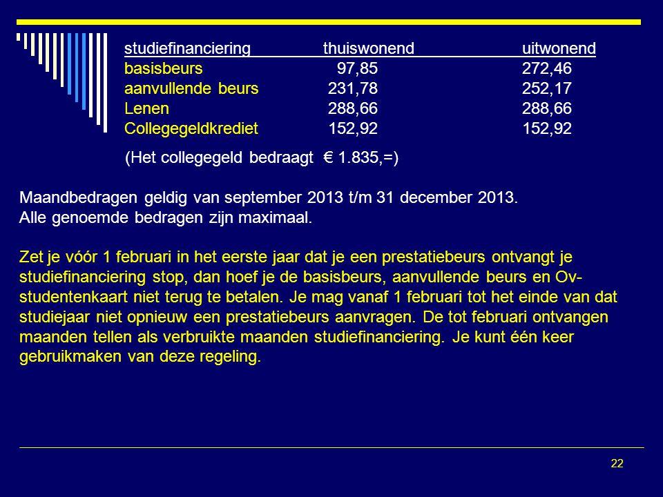 22 (Het collegegeld bedraagt € 1.835,=) Maandbedragen geldig van september 2013 t/m 31 december 2013. Alle genoemde bedragen zijn maximaal. Zet je vóó