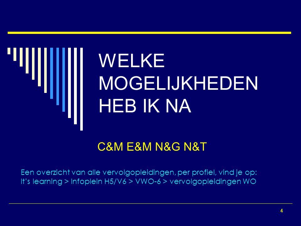4 WELKE MOGELIJKHEDEN HEB IK NA C&M E&M N&G N&T Een overzicht van alle vervolgopleidingen, per profiel, vind je op: It's learning > Infoplein H5/V6 >