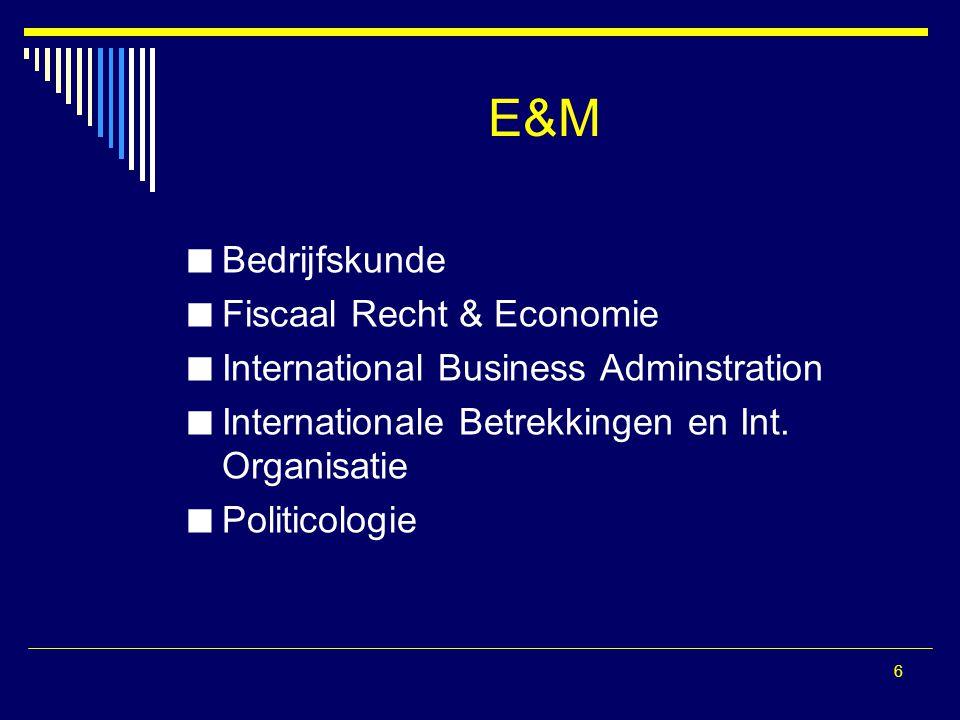 6 E&M Bedrijfskunde Fiscaal Recht & Economie International Business Adminstration Internationale Betrekkingen en Int. Organisatie Politicologie