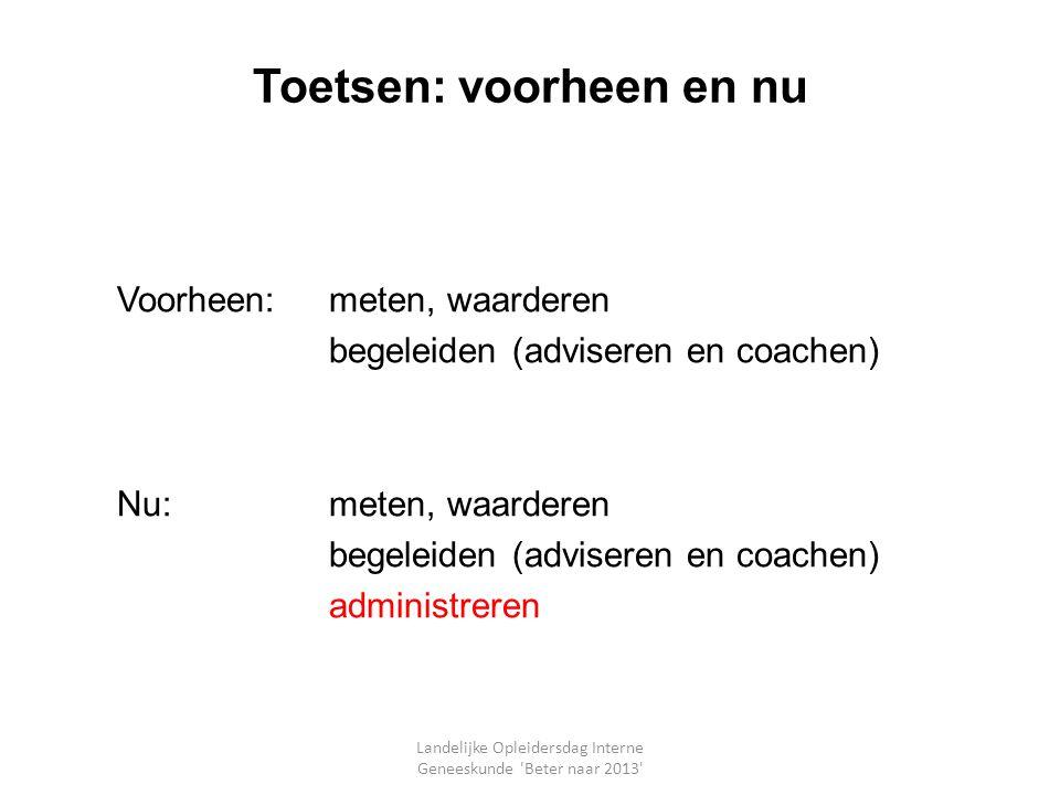 Toetsen: voorheen en nu Voorheen:meten, waarderen begeleiden (adviseren en coachen) Nu:meten, waarderen begeleiden (adviseren en coachen) administrere