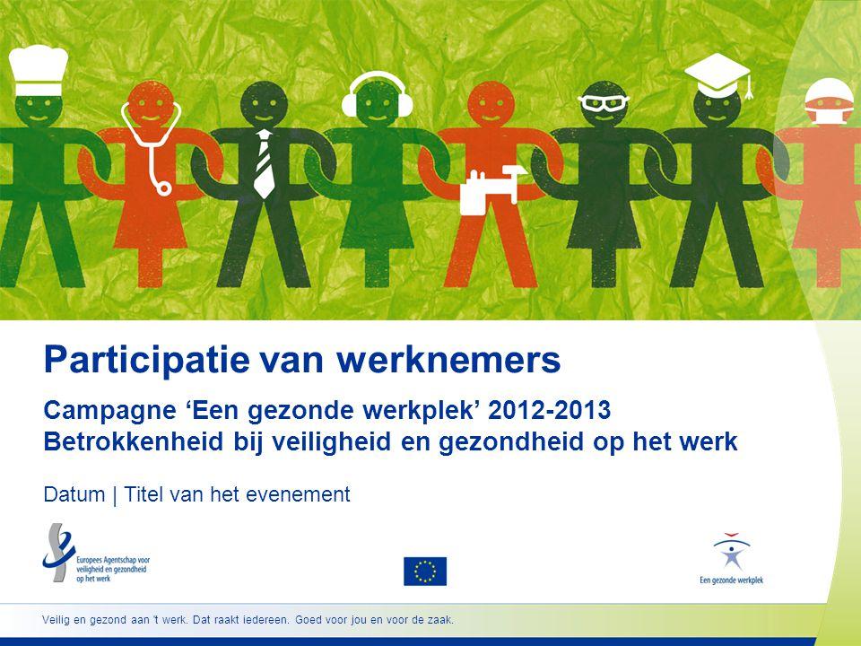 www.healthy-workplaces.eu •Erkenning voor uitmuntende en innovatieve bijdragen •Aanmoediging van managers en werknemers tot samenwerking •Meer veiligheid en gezondheid op het werk •EU-lidstaten, EER-landen, Westelijke Balkanlanden en Turkije •Twee categorieën:  bedrijven of organisaties met minder dan 100 werknemers  bedrijven of organisaties met 100 of meer werknemers •De winnaars worden gekozen uit de inzendingen die zijn ingediend door de nationale focal points http://osha.europa.eu/nl/about/competitions 22 Europese Awards voor goede praktijken
