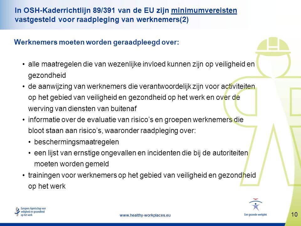10 www.healthy-workplaces.eu In OSH-Kaderrichtlijn 89/391 van de EU zijn minimumvereisten vastgesteld voor raadpleging van werknemers(2) Werknemers mo
