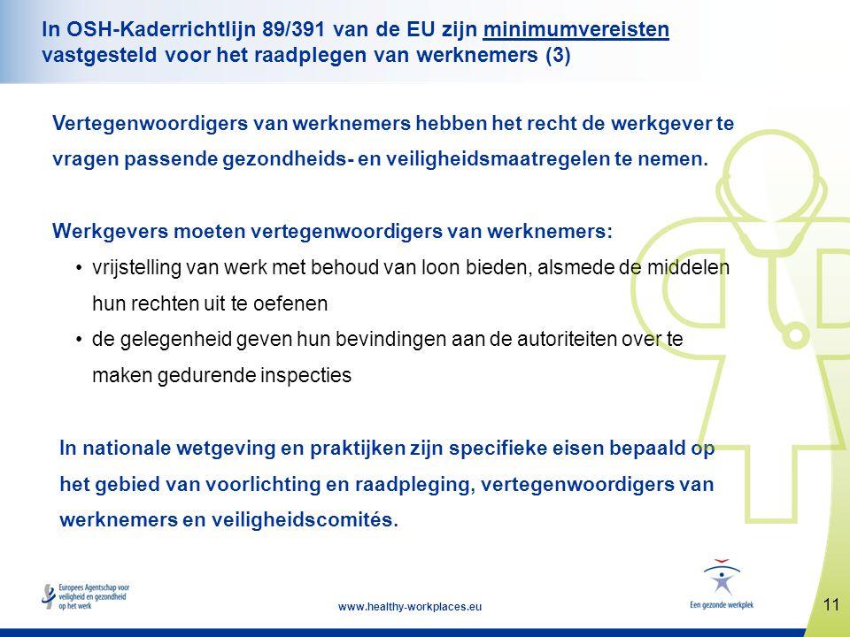 11 www.healthy-workplaces.eu In OSH-Kaderrichtlijn 89/391 van de EU zijn minimumvereisten vastgesteld voor het raadplegen van werknemers (3) Vertegenw