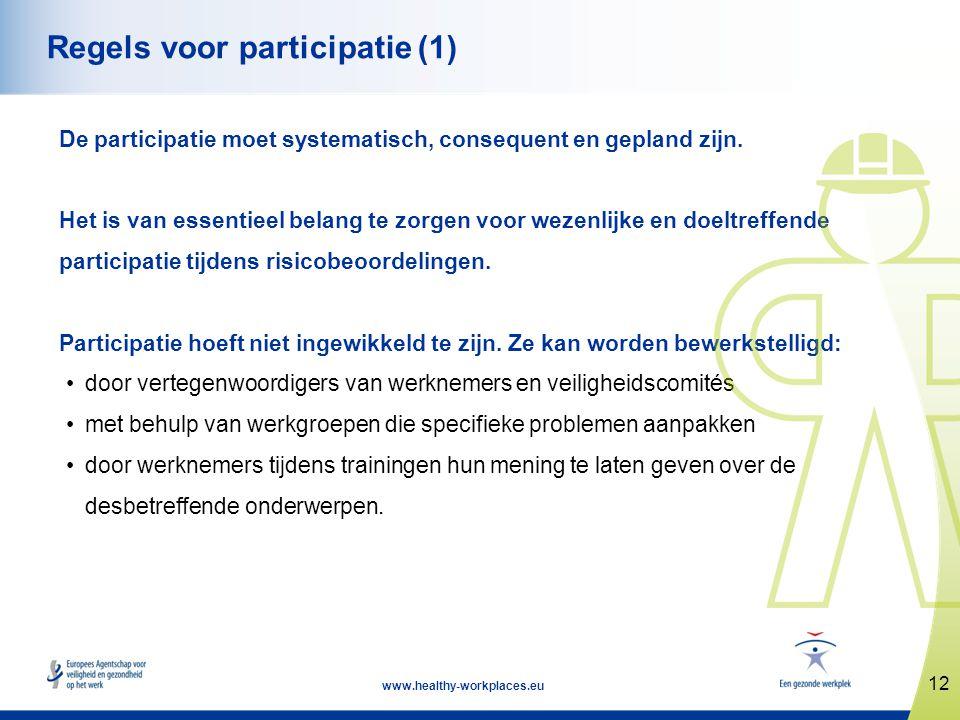 12 www.healthy-workplaces.eu Regels voor participatie (1) De participatie moet systematisch, consequent en gepland zijn. Het is van essentieel belang