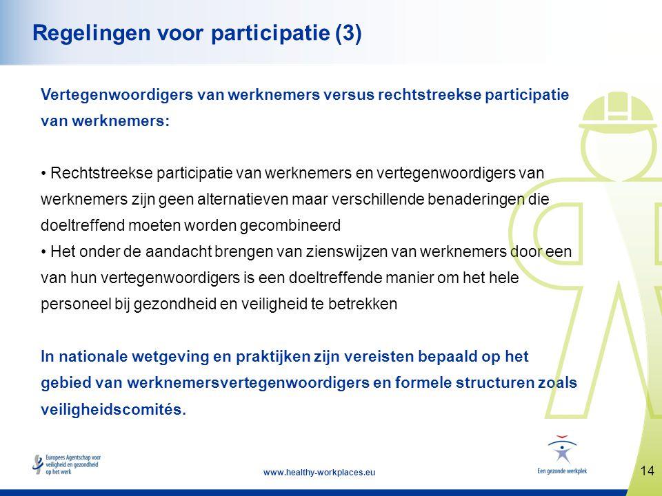 14 www.healthy-workplaces.eu Regelingen voor participatie (3) Vertegenwoordigers van werknemers versus rechtstreekse participatie van werknemers: • Re