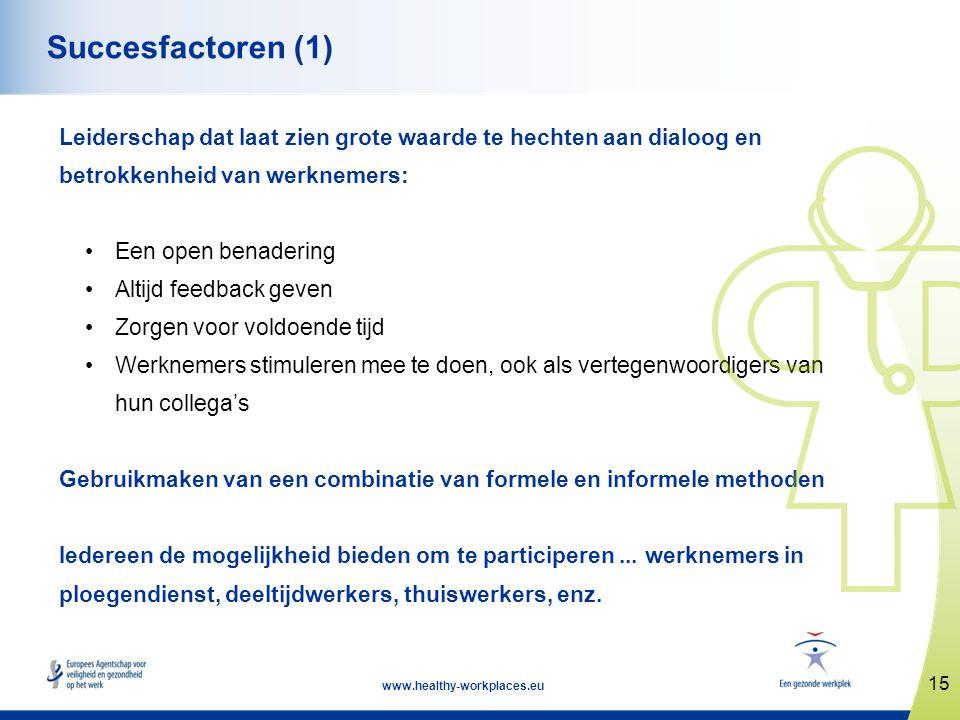 15 www.healthy-workplaces.eu Succesfactoren (1) Leiderschap dat laat zien grote waarde te hechten aan dialoog en betrokkenheid van werknemers: •Een op