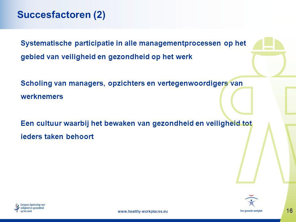 16 www.healthy-workplaces.eu Succesfactoren (2) Systematische participatie in alle managementprocessen op het gebied van veiligheid en gezondheid op h