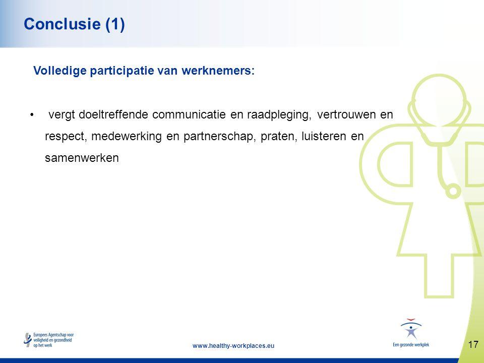 17 www.healthy-workplaces.eu Conclusie (1) Volledige participatie van werknemers: • vergt doeltreffende communicatie en raadpleging, vertrouwen en res