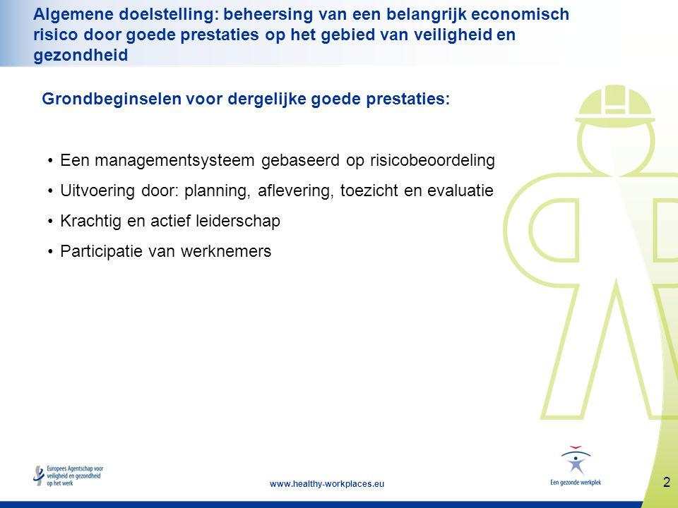 2 www.healthy-workplaces.eu Algemene doelstelling: beheersing van een belangrijk economisch risico door goede prestaties op het gebied van veiligheid
