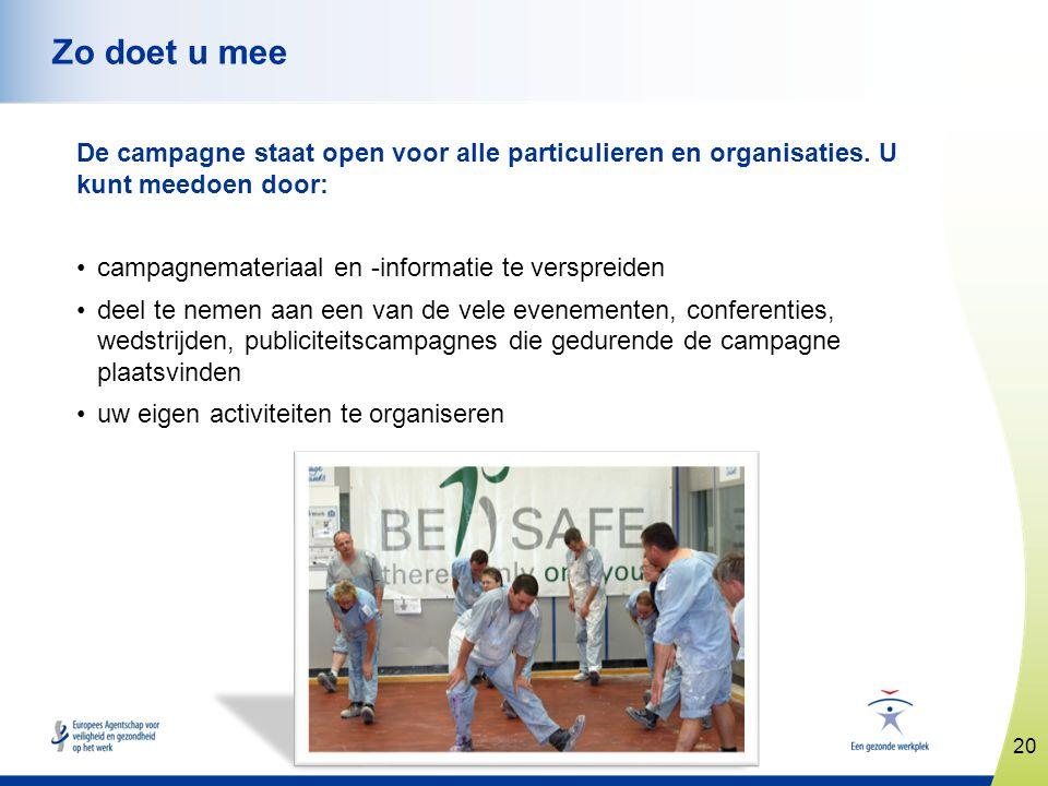 www.healthy-workplaces.eu De campagne staat open voor alle particulieren en organisaties. U kunt meedoen door: •campagnemateriaal en -informatie te ve