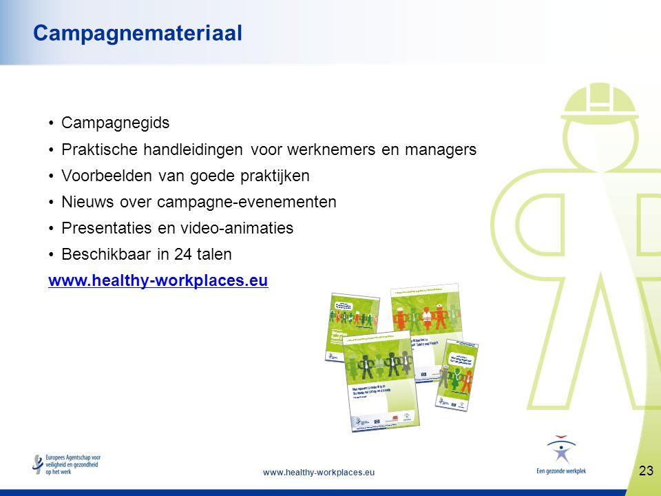 www.healthy-workplaces.eu •Campagnegids •Praktische handleidingen voor werknemers en managers •Voorbeelden van goede praktijken •Nieuws over campagne-