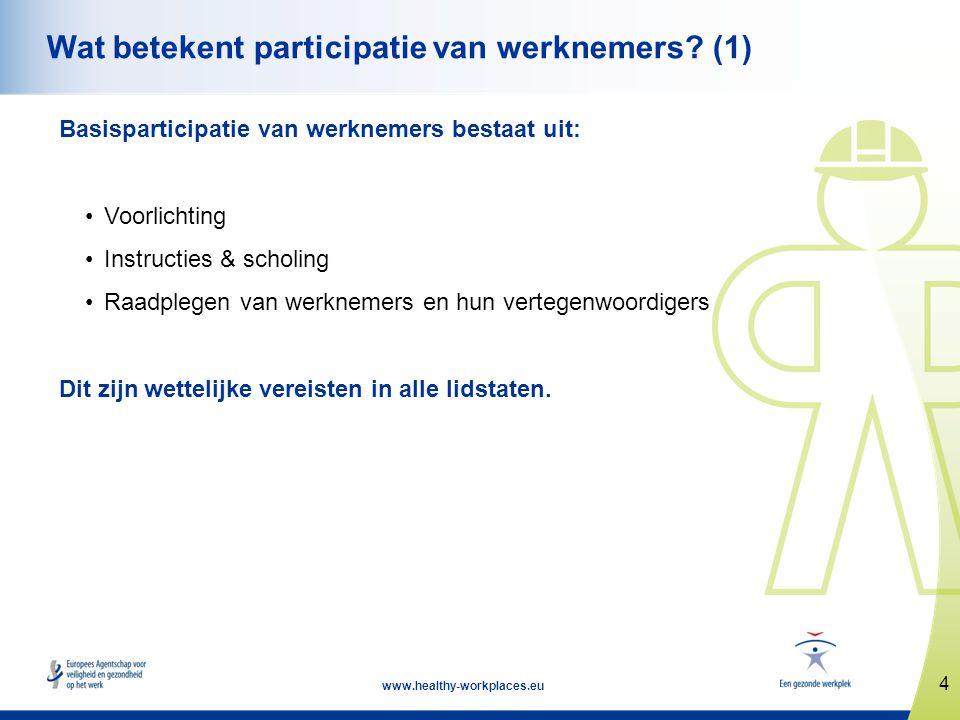 4 www.healthy-workplaces.eu Wat betekent participatie van werknemers? (1) Basisparticipatie van werknemers bestaat uit: •Voorlichting •Instructies & s