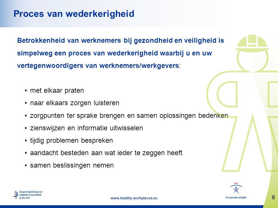 17 www.healthy-workplaces.eu Conclusie (1) Volledige participatie van werknemers: • vergt doeltreffende communicatie en raadpleging, vertrouwen en respect, medewerking en partnerschap, praten, luisteren en samenwerken