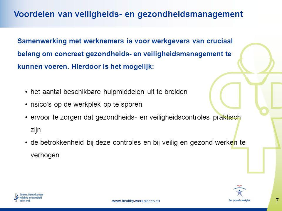 18 www.healthy-workplaces.eu Conclusie (2) Voordelen van een goede participatie van werknemers: • Een zo goed mogelijk gebruik van ieders kennis • Economisch voordeel door minder letsels • Vaak resultaten op het gebied van toegenomen productiviteit, kwaliteit en doelmatigheid • Grotere betrokkenheid van werknemers • Intensievere samenwerking • Gezamenlijke probleemoplossing