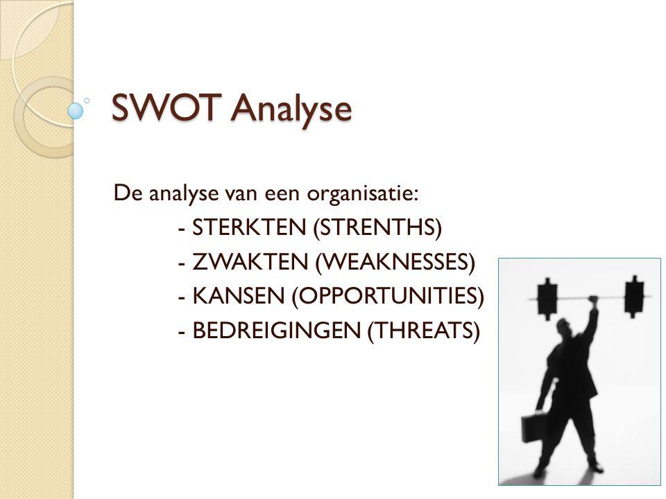SWOT Analyse De analyse van een organisatie: - STERKTEN (STRENTHS) - ZWAKTEN (WEAKNESSES) - KANSEN (OPPORTUNITIES) - BEDREIGINGEN (THREATS)