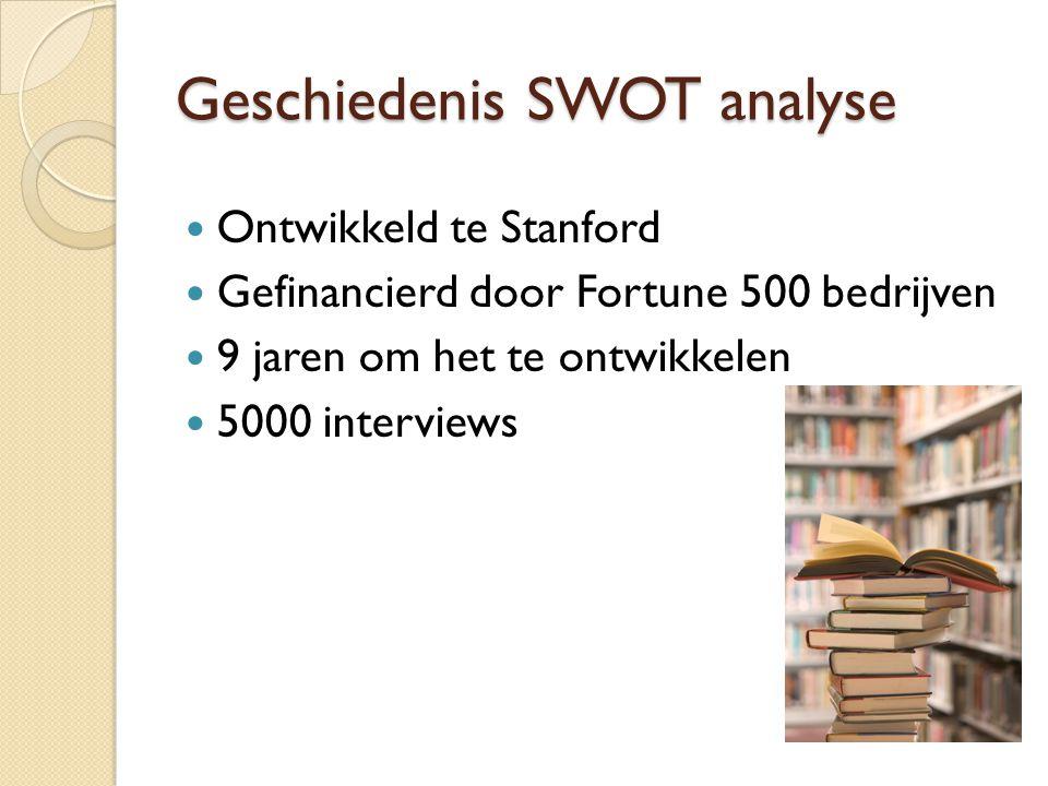 Geschiedenis SWOT analyse  Ontwikkeld te Stanford  Gefinancierd door Fortune 500 bedrijven  9 jaren om het te ontwikkelen  5000 interviews