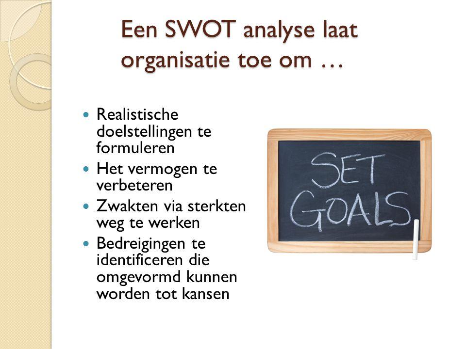 Een SWOT analyse laat organisatie toe om …  Realistische doelstellingen te formuleren  Het vermogen te verbeteren  Zwakten via sterkten weg te werk
