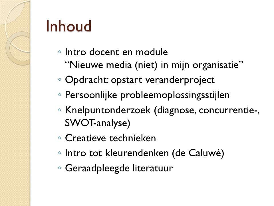 """Inhoud ◦ Intro docent en module """"Nieuwe media (niet) in mijn organisatie"""" ◦ Opdracht: opstart veranderproject ◦ Persoonlijke probleemoplossingsstijlen"""
