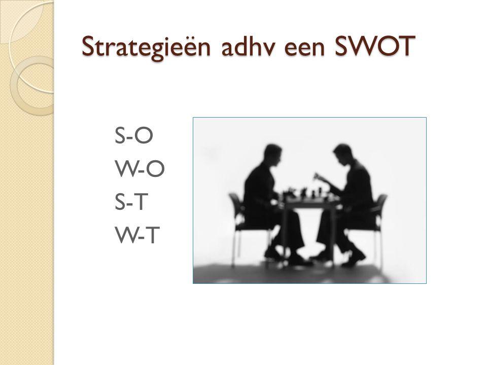 Strategieën adhv een SWOT S-O W-O S-T W-T