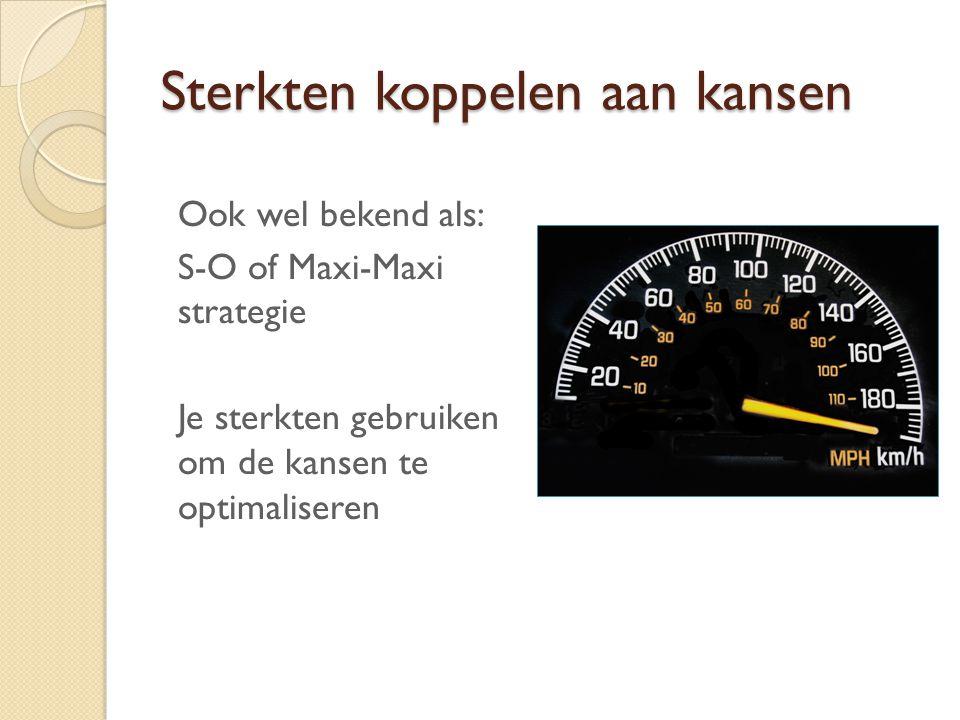 Sterkten koppelen aan kansen Ook wel bekend als: S-O of Maxi-Maxi strategie Je sterkten gebruiken om de kansen te optimaliseren