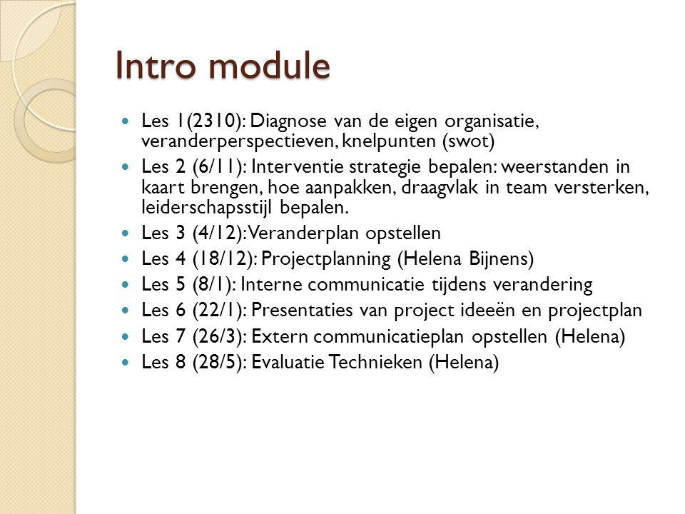 Intro module  Les 1(2310): Diagnose van de eigen organisatie, veranderperspectieven, knelpunten (swot)  Les 2 (6/11): Interventie strategie bepalen: