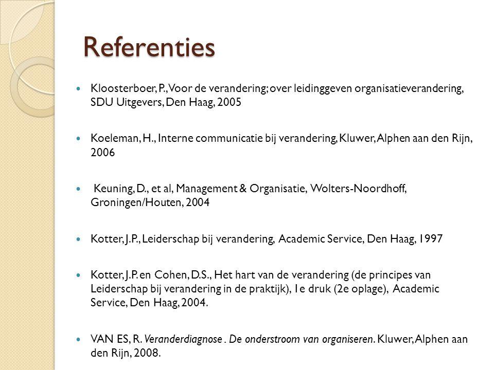 Referenties  Kloosterboer, P., Voor de verandering; over leidinggeven organisatieverandering, SDU Uitgevers, Den Haag, 2005  Koeleman, H., Interne c
