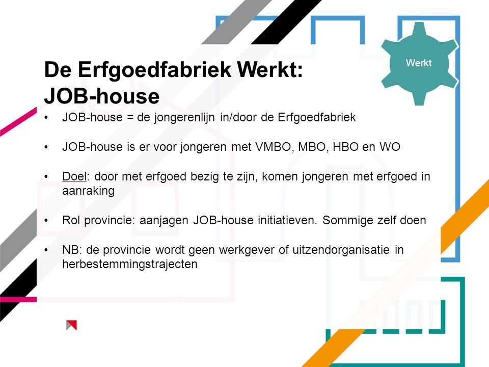 De Erfgoedfabriek Werkt: JOB-house Jongeren HBO •JOB-house = de jongerenlijn in/door de Erfgoedfabriek •JOB-house is er voor jongeren met VMBO, MBO, H