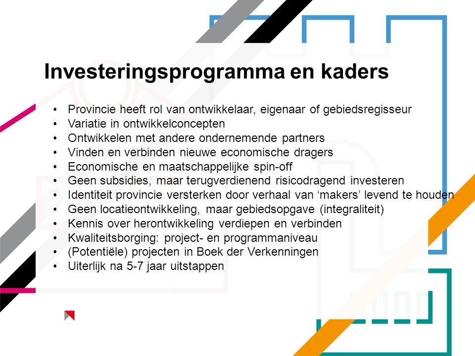Investeringsprogramma en kaders •Provincie heeft rol van ontwikkelaar, eigenaar of gebiedsregisseur •Variatie in ontwikkelconcepten •Ontwikkelen met a